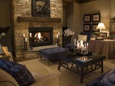 Stacked stone fireplace = | Living room