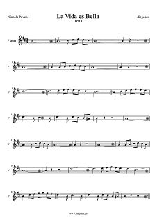 Partitura de La Vida es Bella para Flauta Nivola Piovani Flute and Recorder Sheet Music Life is Beautiful. La Vita é bella spartiti per flauto