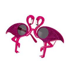Flamingo Tropical Party Sunglasses. Get a fun novelty look with our Flamingo sunglasses. A summer must have, these bright pink sunglasses are perfect for summer parties or to finish off your fancy dress outfit. Great for Selfies and party pictures