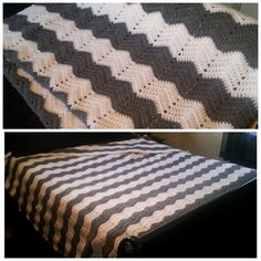 Finished queen sized chevron crocheted blanket.