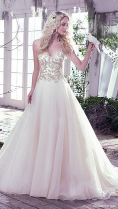 maggie sottero bridal fall 2016 strapless sweetheart ball gown wedding dress / http://www.deerpearlflowers.com/sweetheart-wedding-dresses/2/