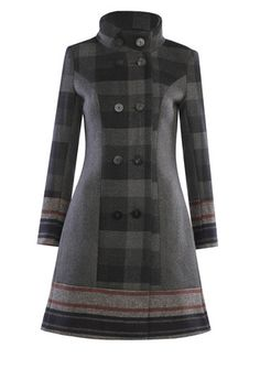 PUZZLE Check Poly Wool Coat