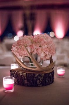 Rustic Wedding Centerpiece | Pale Pink Hydrangeas | Deer Antler Centerpiece | Wood Slab | Rustic Chic Wedding