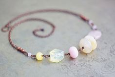 Beaded antique copper pastel pale yellow and pink by SabiKrabi, $39.00