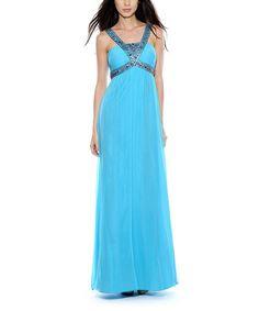Loving this Turquoise Rhinestone Yoke Chiffon Gown on #zulily! #zulilyfinds
