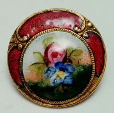 ANTIQUE ENAMEL BUTTON ROSE BUD THEMED