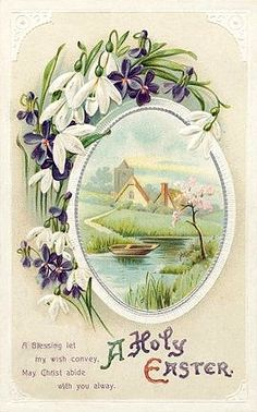 vintage Easter greetings postcard...country church, stream, snowdrops & violets