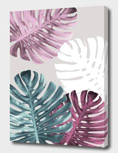 Diy Wall Painting, Plant Painting, Acrylic Painting Canvas, 3 Canvas Painting Ideas, Flower Mural, Flower Art, Painted Leaves, Tropical Art, Diy Canvas Art