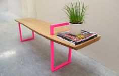 Contemporary Wood Metal Bench by StuffStudios on Etsy, $900.00