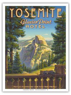 Yosemite National Park - Kerne Erickson Vintage Style Travel Poster Print