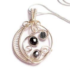 Original Handmade Jewelry Ideas | wire weaved pendant - black - handmade wire work jewellery