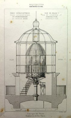 1852 Antique architecture lighthouse print by LyraNebulaPrints