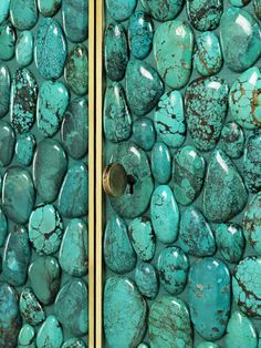 A brass and turquoise cabinet by Kam Tin, c. 1980 (cabinet door detail)