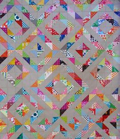 Half Square Triangle Quilt / Red Pepper Quilts picture on VisualizeUs Triangle Love, Half Square Triangle Quilts, Square Quilt, Cute Quilts, Scrappy Quilts, Kid Quilts, Baby Quilts, Quilting Projects, Quilting Designs