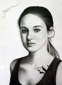 Shailene Woodley - Tris (Divergent) Signed by P3ncilPortraits.deviantart.com on @deviantART