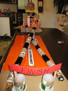 Recycled Toilet Roll craft - car racing track. (Knew I was keeping the rolls for something!)