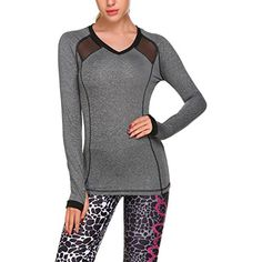 HOTOUCH Sports Shirts Women's Long Sleeve Yoga Top Running Gym Sports T-Shirt S-XL *** Be sure to check out this awesome product. (This is an affiliate link) #SportsBras