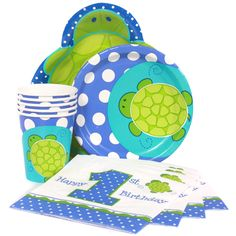 Turtle 1st Birthday Express Party Package for 8