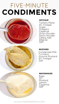 Five-Minute Ketchup, Mustard, and Mayo Three Condiments: You can make delicious ketchup, mustard, and mayonnaise at home in just a few minutes with the right recipe and right technique! Be sure to check out the post for my immersion blender mayo trick! Homemade Ketchup, Homemade Spices, Homemade Seasonings, Homemade Mayonaise, Homemade Pasta Sauce Easy, Homemade Dry Mixes, Homemade Food, Cooking Tips, Cooking Recipes