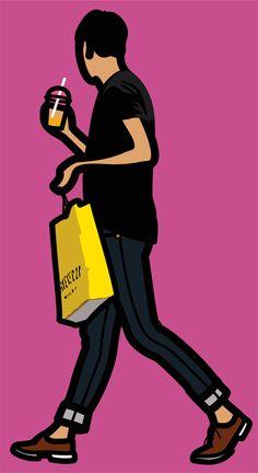 Art Contemporary — Julian Opie Vinyl on wooden stretcher. Neo Pop, Simple Line Drawings, Easy Drawings, Keith Haring, Michael Craig, Pop Art, Art Postal, Western Comics, Cartoon Kunst