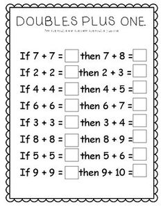 Doubles +1 and Doubles -1 | 1st | Pinterest | Worksheets, Math and ...