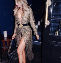 Open cleavage gold see-through dress