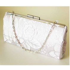 White Floral Bridal Clutch  Baguette Style  Silver by Upstyle, $65.00