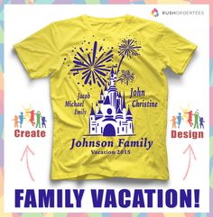 Family vacation custom t-shirt design idea's! Create fun custom t-shirts for your family next vacation trip this year! www.rushordertees.com #FamilyVacation