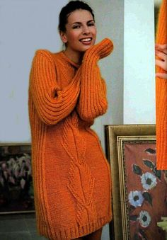 Items similar to Long sweater Orange mohair women's dress made by hand / custom on Etsy Thick Sweaters, Sweaters For Women, Women's Sweaters, Knitting Designs, Fashion Wear, Knit Dress, Dress Making, Hand Knitting, Knitwear