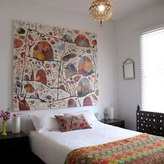 The home of Rosetta Santucci , who did the painting over the bed. from The Design Files Home Bedroom, Bedroom Decor, Bedroom Interiors, Serene Bedroom, Master Bedroom, Wall Decor, Ethnic Bedroom, Melbourne House, Above Bed
