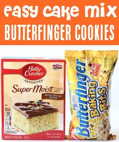 Butterfinger Cookies Easy Cake Mix Cookie Recipe! This easy cookie will have your friends and family begging for seconds! Just 4 ingredients and you're done! Go grab the recipe and give it a try this week! Cake Mix Cookie Recipes, Cake Mix Cookies, Best Cookie Recipes, Yummy Cookies, Baking Recipes, Easy Recipes, 4 Ingredient Desserts, 4 Ingredient Cookies, Fall Desserts