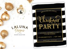Christmas Party Invitation, Christmas Party Invite, Holiday Party Invitation, Christmas Party Printable, Faux Gold Foil, DIY Printable