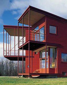 Steven Holl - Y House, Catskills 1999 Steven Holl, Timber Architecture, Contemporary Architecture, Architecture Design, Green Facade, New York City Apartment, Apartment Interior, Cedar Siding, Cladding