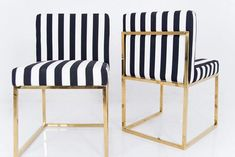Modern Dining chair Sleek and stylish, these beautiful dining chairs will add some class to your dining room. Available in different styled stripes, or have a little fun and mix th Striped Dining Chairs, Accent Chairs For Living Room, Modern Dining Chairs, Black And White Dining Room, Black And White Chair, New Furniture, Dining Room Furniture, Dining Rooms, Cool Chairs