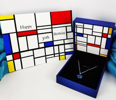 30th Birthday Gift for her - Mondrian Art & Silver Blue Zircon Necklace + Piet Mondrian Birthday Card | For Girlfriend, Wife, Loved One Happy 40th Birthday, Birthday Gifts For Her, Birthday Cards For Girlfriend, Mondrian Art, Presents For Her, Blue Zircon, Message Card, Sterling Silver Pendants, Necklaces