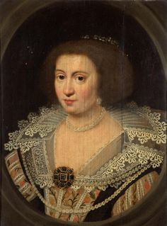 ca. 1629 Amalia van Solms, Princess of Orange by Michiel Jansz. van Miereveld (Holburne Museum - Bath UK) This image shows how lace making was advancing; more refined lace probably was a factor in causing ruffs to disappear so more lace work could be displayed.    Keywords: Amalie van Solms, van Mierveldt, Orange family, Dutch, Princess,curly coiffure, trapezoidal neckline, ruff, lace, bertha, under-dress, balloon sleeves, necklace, earrings, brooch, jeweled bodice ornament