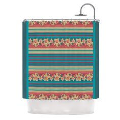Mahalo Denim Stripe by Nina May Floral Shower Curtain