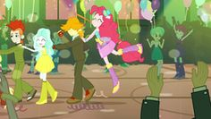 Size: 1920x1080   Tagged: background human, balloon, bare shoulders, boots, bracelet, crimson napalm, diamond tiara, ear piercing, earring, equestria girls, eyes closed, fall formal, fall formal outfits, flower child, hat, high heel boots, jewelry, jumping, mystery mint, noisemaker, paisley, piercing, pinkie pie, raised leg, rose heart, safe, screencap, silver spoon, sleeveless, sparkles, strapless, teddy t. touchdown, tennis match, this is our big night, top hat, valhallen