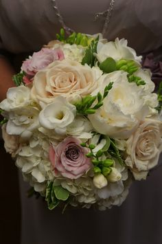 Designed by Fresh Weddings by CarryAnn http://freshweddingsbycarryann.com hydrangea, freesia, roses, peonies