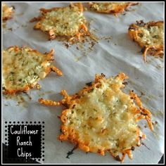 Cauliflower and Parmesan Crisps: INGREDIENTS: *1 cup cauliflower (grated) *1 cup parmesan (grated) *1/2 teaspoon garlic *1 tsp basil *1 tsp parsley *1/2 tsp black pepper >DIRECTIONS:1) Grate cauliflower. 2)Add parmesan 3)Add parsley, basil, garlic, and pepper 4)Take a small handful of the mixture and place it on a lined baking tray and bake for 5 minutes. 5)After 5 minutes turn them over and place back in the oven for a further 5 minutes.