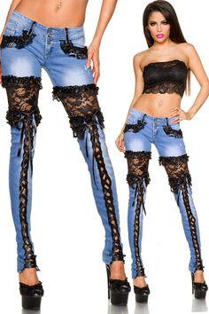 Jeans - Stretchhose Leggings HoseJeans Jeans mit Spitze - ein Designerstück von lieblingstasche37 bei DaWanda