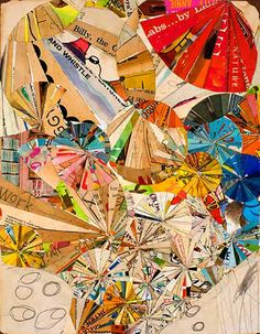 Recycled Book Collage Art by Austin-based artist Lance Letscher #art #repurposed