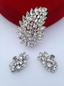 Sherman Clear Crystal Rhinestone Leaf Brooch Screwback Earrings   eBay