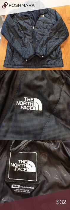 The North Face women's jacket Great condition! This jacket is black with the white north face logo. The jacket zippers down the center of the coat. Two, pockets that zip on the front side of the jacket. Love this coat, perfect for all seasons. The North Face Jackets & Coats
