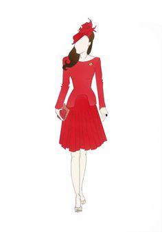 "Duchess of Cambridge Kate Middleton Fashion High Street Print 8.5""x11"" Alexander McQueen Red Pleated Dress"