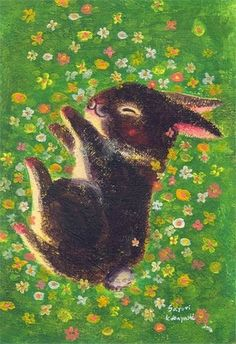"reminds me of the ""golden egg book"" illustrations by Leonard Weisgard… Rabbit Art, Bunny Rabbit, Bunny Art, Cute Bunny, Jolie Photo, Grafik Design, Children's Book Illustration, Graphic, Cute Art"