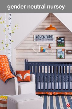 A new baby is the best adventure ever. Create a nursery that reflects your modern style with a gender neutral nursery featuring bold orange and navy colors. Start with the Sweet JoJo Designs 11-piece crib bedding set. It has fun, on-trend prints, like arrows, hexagons and stripes, and includes a comforter, fitted crib sheet, dust ruffle, diaper stacker, toy bag, decorative pillow, set of 3 wall hangings and 2 window valances. Add a beautiful blue crib and dresser, a comfy glider and you're…