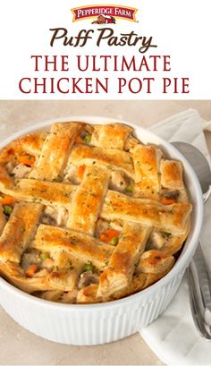 Forget about the cold outdoors and cuddle-up with this cozy dish. The Ultimate Chicken Pot Pie! A light and flaky Puff Pastry crust is what makes this pot pie the ultimate. It's a great way to turn leftover chicken and veggies into a whole new and delicious dinner.