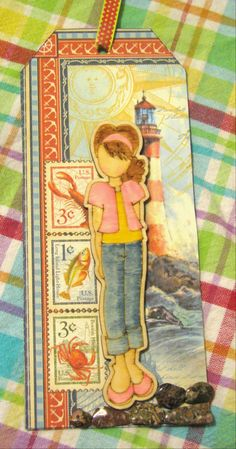 prima doll tag-wooden girl using Graphic 45 By the Sea paper and real rocks by Carol B.
