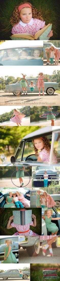 Pittsburgh Children Photography  1950's styles hoot   siblings, sibling posing
